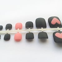 24 Grey Heart Fake Toe Nails, Hand Painted False Toenails, Artificial Nail Set
