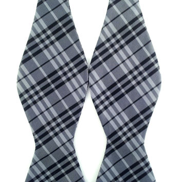 Grey and Black Check Stripes - Self-Tied Bow Tie
