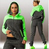 Zipper Hoodie Top Casual Pants Patchwork Fashion Activewear Sports Set
