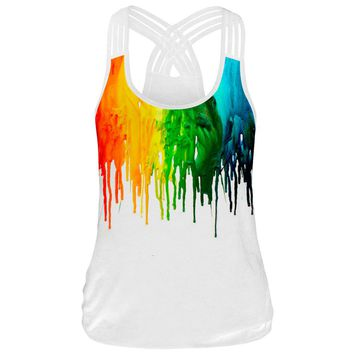 Hot Fashion Women Top Fitness Camisole Tank Tops 3D Paint Printed Sleeveless T Shirts Tees Female Workout Top Back Crossed