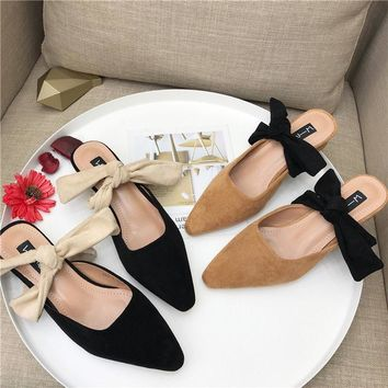 Women Summer Fashion Suede Pointed Toe Bow Low Heel Slippers Mules Sandals Shoes