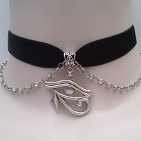 Egyptian EYE of HORUS Charm With Chain 16mm BLACK Velvet Ribbon Choker - ik.. or choose another colour velvet :)