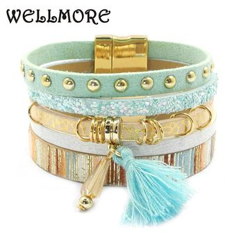 leather bracelet 6 color bracelets winter charm bracelets Bohemian bracelets&bangles for women Christmas gift wholesale B1627
