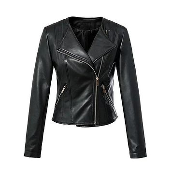 Women short coat Pu motorcycle leather jacket faux leather clothing jaqueta couro biker jacket hot sale black drop shipping SML