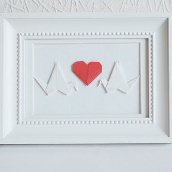 Card Origami Cranes and Heart | Wall art Wedding invitation Collage Valentines Day Gift