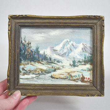 Small oil painting - framed vintage mountain landscape, oil on board, wood frame, hand painted landscape, framed oil painting, rustic art