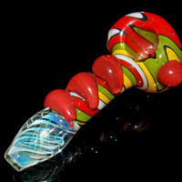 Rainbow Rasta Glass Smoking Pipe w/ Trippy Switchback Wig Wag Reversal - Huge Fumed Spoon Bowl