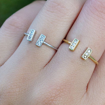 Minimal Dainty Ring Delicate Gold or Silver Tone Minimalist Open Bar Modern Crystals Ring