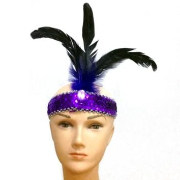 Retro Flapper Sequin Feather Hairband Fancy Dress Costume Headband Headpiece