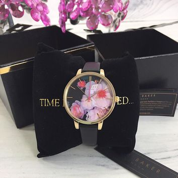 Ted Baker TEC0025019 Ladies Round Flower Dial Leather Band Watch - New