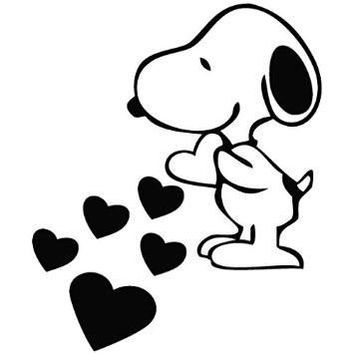 Love Peanuts Snoopy Hearts Vinyl Car Decal
