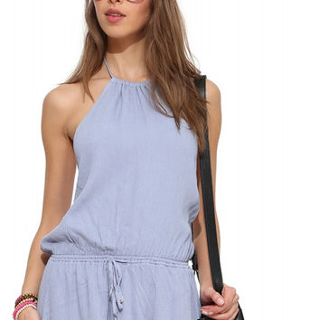 Blue Backless Halter Mini Dress with Waist Strap