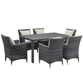 LexMod Summon 7 Piece Outdoor Patio Sunbrella Dining Set in Antique Canvas Beige