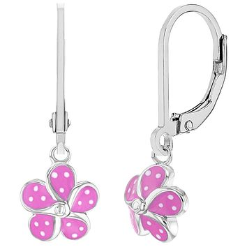 925 Sterling Silver Pink White Dotted Flower Dangle Earrings Girls Teens