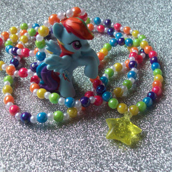 Rainbow Dash Necklace and Stretch Bracelet Set