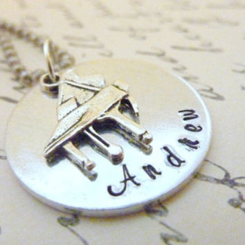 Piano necklace Piano teacher Necklace music Personalized Hand stamped jewelry