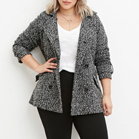Plus Size Double-Breasted Boucle Peacoat