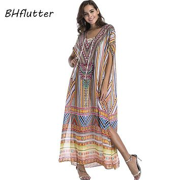 BHflutter New Style 2018 Summer Dress Women Batwing Casual Chiffon Dress Boho Style Maxi Bohemian Dress Plus Dress XXL 3XL 4XL