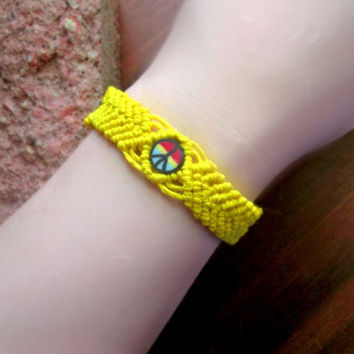 Yellow Macrame Cuff, Clay Bead Bracelet, Rasta Peace Sign Hemp Bracelet, Macrame Jewelry, Rastafarian, Hemp Cuff