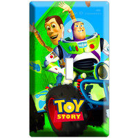 Woody Buzz Lightyear racing car Toy story disney movie single Double light switch cover plate children room decor