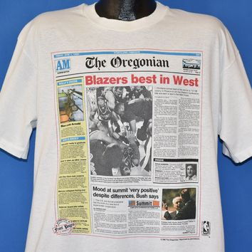 90s Portland Trail Blazers 1990 Newspaper t-shirt Extra Large