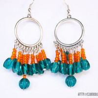 Antique Boho hoop earrings -Silver finish with a perfect combination of orange and turquoise glass beads-Handmade