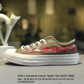 CDG x Converse Chuck Taylor 70s HiOX 18SS CDG PLAY Brown Causel Shoes Sneaker