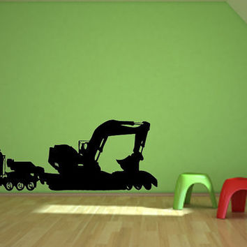 Truck and Excavator Vinyl Design For Children Play Room. For kids