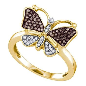 10k Gold Women's Cognac-brown Round Diamond Cluster Butterfly Ring - FREE Shipping (US/CA)