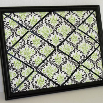 Black & Green Damask Print fabric ~ Black Wood Framed Memo Board by ToileChicBoutique