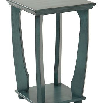 Office Star Mila Square Accent Table in Caribbean Blue Wood Finish Ships Fully Assembled [OP-MLAS1-YM21]