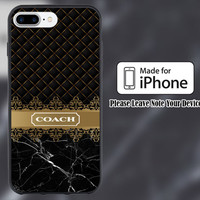 Coach Luxury Gold Design Print On Hard Plastic Case For iPhone 6/6s 7/7+ 6/6s+