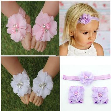 Baby girl barefoot sandal & headband set w/ rhinestone & pearls / 14 color choices