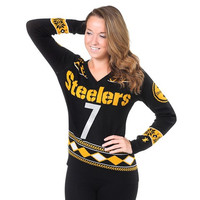Pittsburgh Steelers Roethlisberger B. #7  NFL Womens Glitter V-Neck Sweater