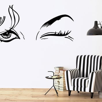 Vinyl Decal Beautiful Woman Beauty Salon Female Eye Makeup Sexy Girl Wall Stickers (ig1416)