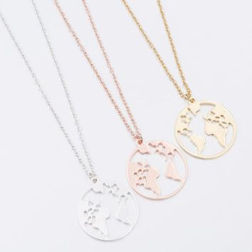 Globe World Map Necklace Earth Day Gift For Best Friends