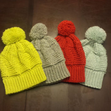 Cabled Wool Pom Pom Beanie - 6 available colors