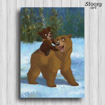 brother bear print kenai and koda disney poster animal nursery