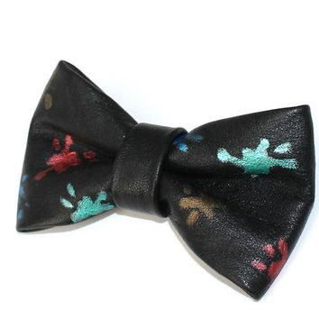 OOAK Leather Hand painted Bow Tie Black Dickie Bow Unique Bowtie Fancy Real Leather Bow Tie Wedding Groomsmen Man Men Lady Gift BowTie4You