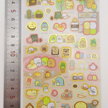 Sumikko Gurashi stickers - kawaii stickers - cafe stickers - dessert stickers -  San-X stickers - Japanese stickers - kawaii tea stickers