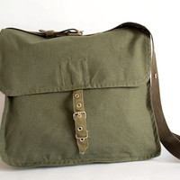 Vintage Military Bag 1970's Green Canvas by ARoadThroughTime