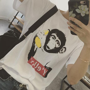 Y'ello? Monkey & Banana T-Shirt for Women