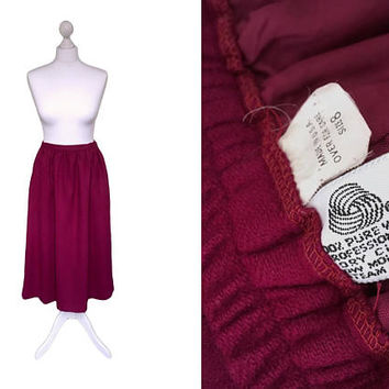 1970's Vintage Midi Skirt | 70's Wool Skirt | Plum Red Soft Wool Winter Skirt