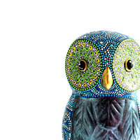 Hand painted Owl Figurine Dot painting Owl statue figure Display Owl Art Resin figurine