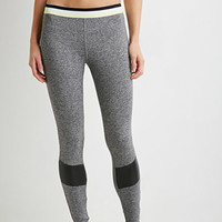 Heathered Striped-Waist Athletic Leggings