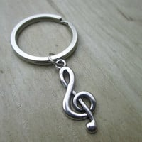 Music Note Keychain, Treble Clef, G-clef Charms, Music Lover, Key Chain