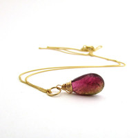14k gold tourmaline necklace, October birthstone pendant, watermelon tourmaline jewelry 14k gold birthstone jewelry, 14k solid gold necklace