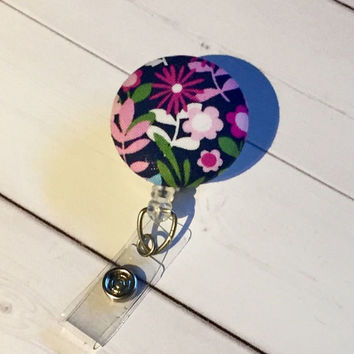 Flowers Retractable ID Badge Holder Reel  - Fabric Button -  rn lpn teacher nurse