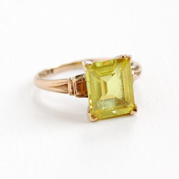 Vintage 10k Rose Gold Created Yellow Sapphire Ring - Art Deco 1930s 1940s Size 7 Emerald Cut Created Stone Fine Jewelry