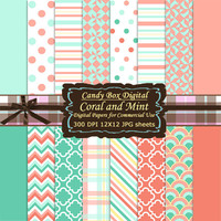 Trendy Coral and Mint Digital Paper, Digital Scrapbook Paper, mint coral paper, mint and coral paper, scrapbook paper - Commercial Use OK